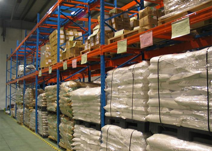 Push back pallet racking for warehouse storage