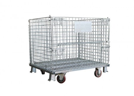 Collapsible Wire Container with Casters