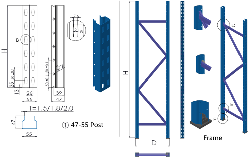 Longspan shelf post&frame