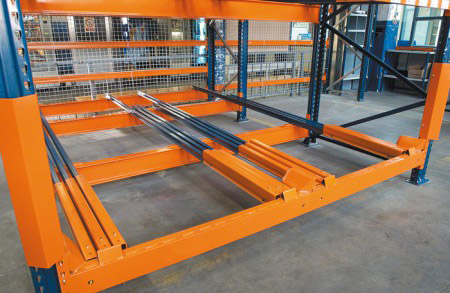 Warehouse steel push back pallet racking systems