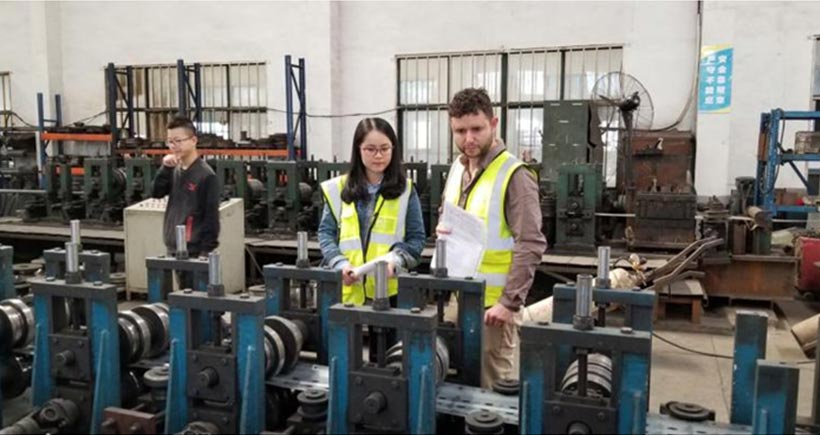 UK client paid a visit to Aceally drive-in racking factory