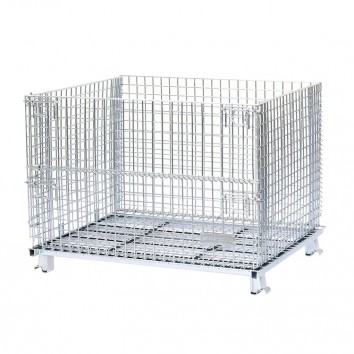 Foldable wire container cage