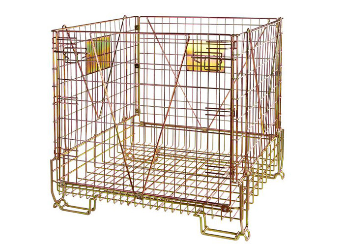 Stackable Steel Galvanized Metal Wire Mesh Container For Storage