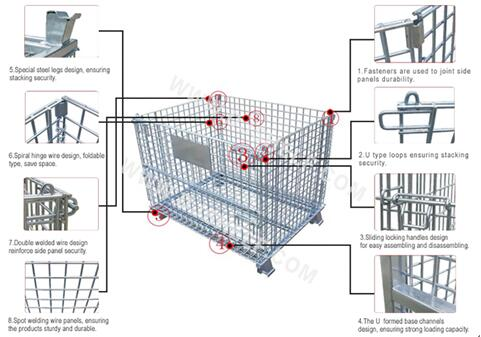 Aceally steel wire mesh container