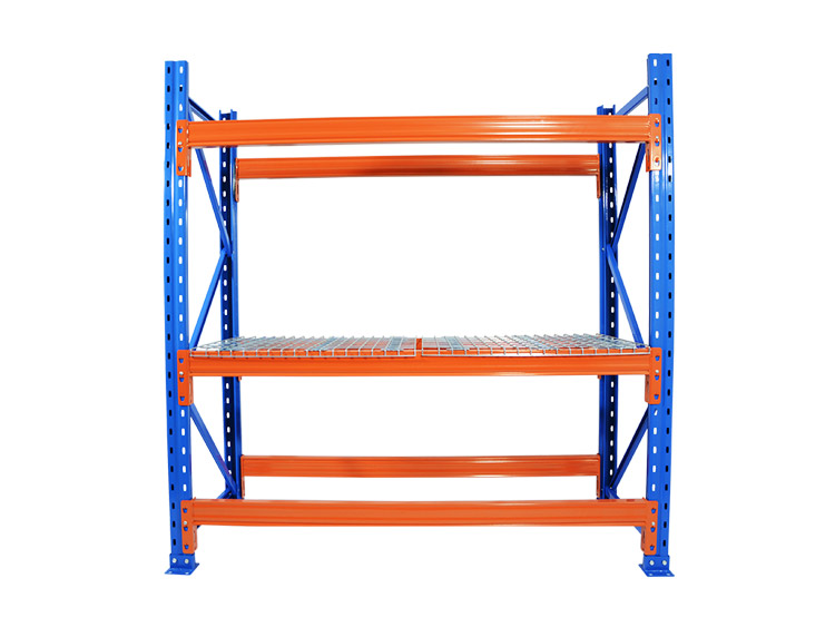 Effect of adding wire mesh decking to cross beam pallet rack