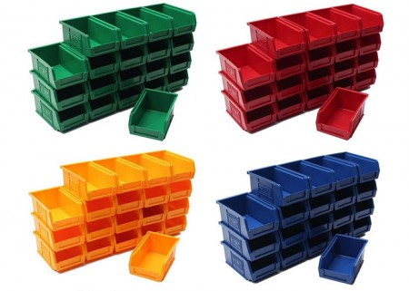 Plastic stackable parts bins for sale
